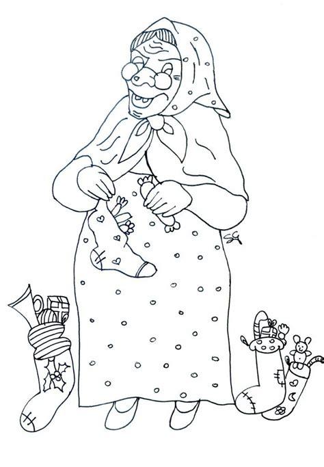 disegni della befana da colorarebefana  calze