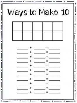 ways to make 5 and ways to make 10 center and worksheets tpt