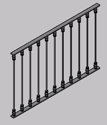 colonial wrought iron railing  dwg model  autocad
