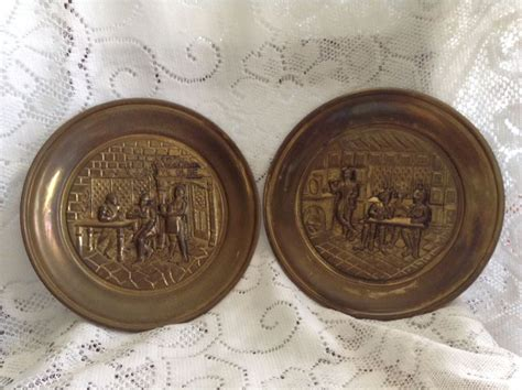 Ebay Decorative Wall Plates by Vtg 2 Decorative Brass Wall Plates Made In Ebay