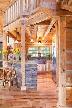 log home kitchen  colorful cabinets log homes