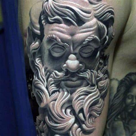tattoo greek zeus god designs mens tattoos statue poseidon realistic 3d arms hyper tweet thunderbolt grey