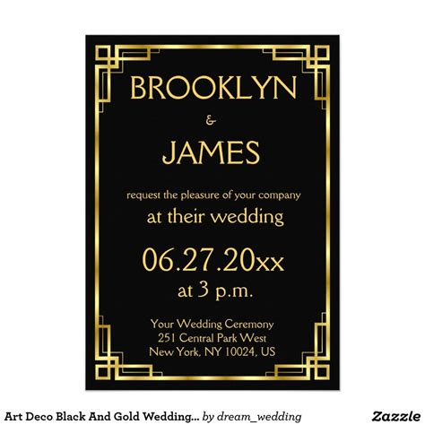Art Deco Black And Gold Wedding Invitations Zazzle com
