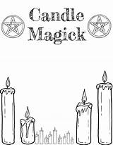 Coloring Grimoire Printable Wiccan Shadows Witch Candle Magick sketch template