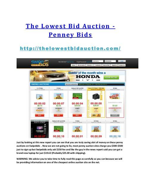 Lowest Bid The Lowest Bid Auction Auction