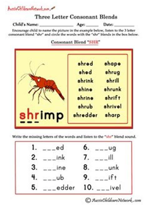 free three letter consonant blends worksheets beginning
