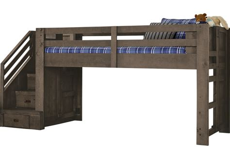 Montana Espresso Twin Step Jr. Loft Bed   Bunk/Loft Beds Dark Wood