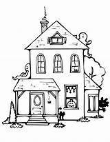 Coloring Haunted Pages Printable Simple Drawing Adults Halloween Paintingvalley Drawings sketch template