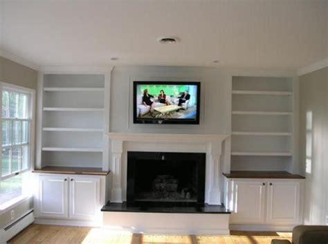fireplaces  built  shelves   sides  tv