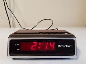 Working, Vintage, Westclox, Digital, Alarm, Clock, Faux, Wood, Grain, Model, 22651