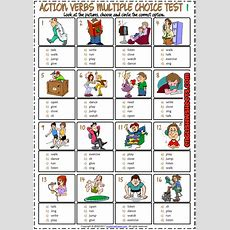Action Verbs Esl Printable Multiple Choice Test For Kids  Esl Printable Vocabulary Worksheets
