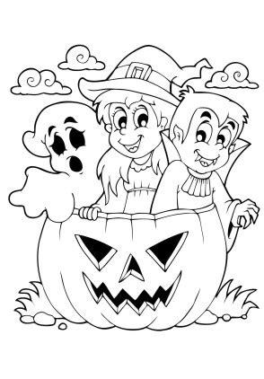 Ausmalbilder Vampir und Geist im Kürbis  Halloween zum