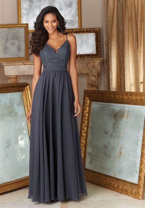 Elegant Beaded Lace and Chiffon Bridesmaid Dress   Style