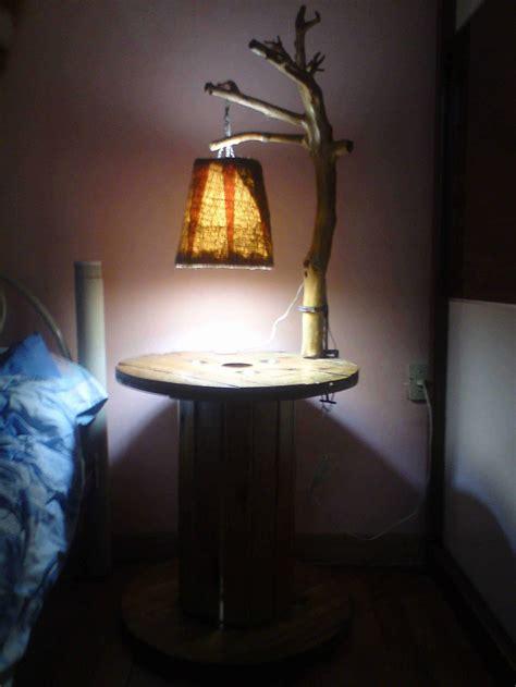 lampara  mesa de noche de carrete branch lamp reel