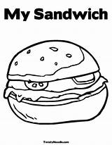 Coloring Sandwich Sandwiches Sub Ice Cream Template Colouring Subway Colour Layer sketch template