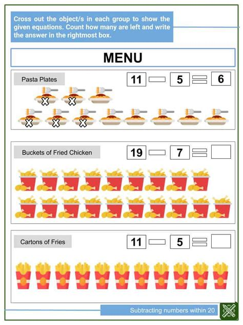 subtracting numbers   worksheets helping  math