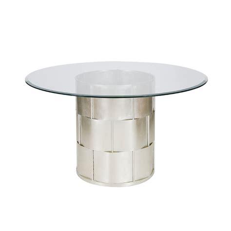 silver table l base worlds away amanda silver leaf basketwave dining table