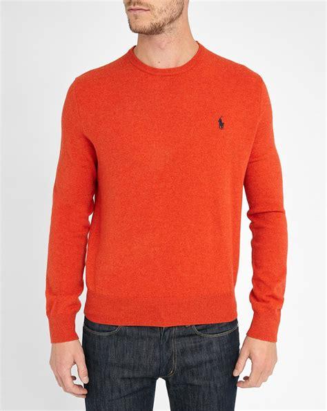 ralph polo sweaters polo ralph orange lambswool neck sweater in