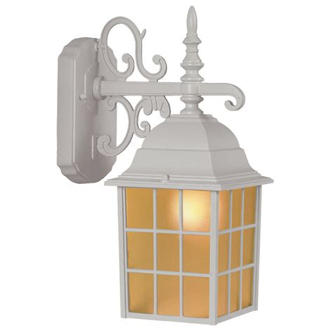 shop portfolio 14 37 in h sand white outdoor wall light at