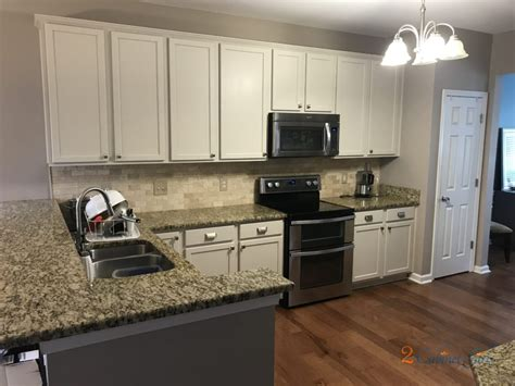 kitchen cabinets painted baby fawn white   long lake