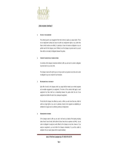 Zero Hour Contract Template - 1 Free Templates in PDF, Word, Excel Download