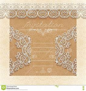 vintage wedding card or invitation with abstract lace With vintage wedding invitation with lace free vector