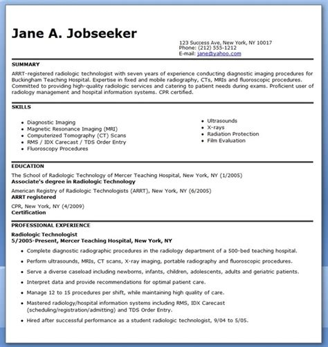 Radiography Resume by Sle Resume For Radiographer Resume Downloads
