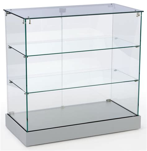Store Glass Counter Silver Base Frameless Display