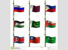 Asian And Middle Eastern Flags Royalty Free Stock Photos