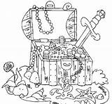 Treasure Chest Coloring Pirate Printable Getcolorings sketch template