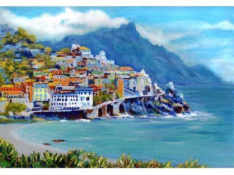 Amalfi Coast Italy Coast Italian Seascape Blue Green