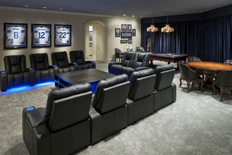 Dallas Cowboys Inspired Game And Media Room-contemporary