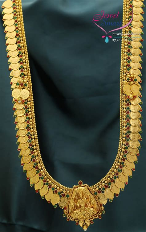 temple jewellery mango coin long necklace  gold designs