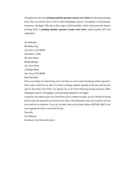 printing machine operator cover letter sles and templates