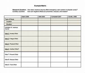 literature review matrix sample idealvistalistco With literature review template doc