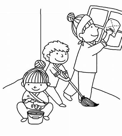 Cleaning Clipart Children Coloring Helping Kindness Colouring