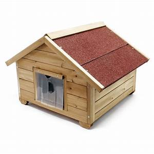 Small full isulated wooden cathouse outdoor weather proof for Insulated outdoor dog house