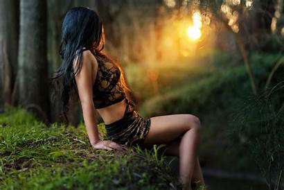 Erotic Fantasy Gothic Dark Woods Cleavage Witch