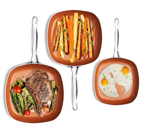 gotham steel  piece  stick shallow square frying pan cookware set copper ebay