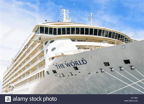 MS The World A Privately Owned Cruise Ship Anchored In The Port Of Stock Photo Royalty Free ...