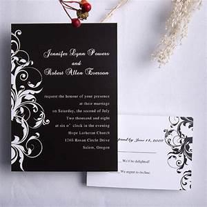 Classic black and white damask wedding invitations ewi023 for Images of black and white wedding invitations