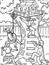 Coloring Treehouse Baumhaus Boomhutten Tree Ausmalbilder Kleurplaat Kleurplaten Playing Colorear Dibujos Malvorlage Malvorlagen Desenhos Colorir Comic Printable Bestcoloringpagesforkids Adult Sheets sketch template