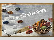 Oster Bild frohes Ostern Ostern im Schnee mit Korb und