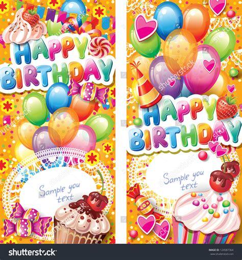 happy birthday vertical cards stock vector