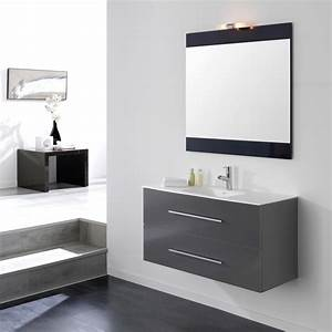 Meuble Salle De Bain Suspendu : meuble salle de bain ancomalin 100 suspendu gris ~ Melissatoandfro.com Idées de Décoration