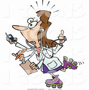Vector Clip Art of a Busy Female Doctor with Four Arms ...