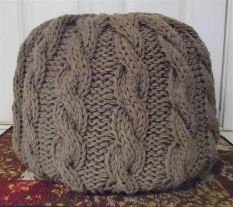 knitted pouf ottoman cable knit pouf ottoman not stuffed made to order 35 color