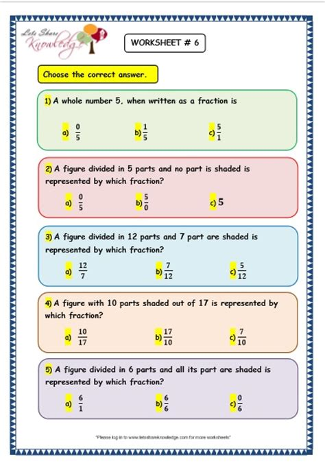 grade  maths worksheets  fraction word problems