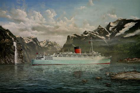 Rms Caronia Cruise Ship Robert Lloyd Marine Painting Art