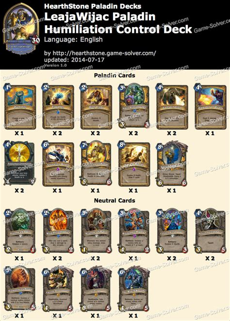 Hearthstone Deck List Tier by Leajawijac Paladin Deck